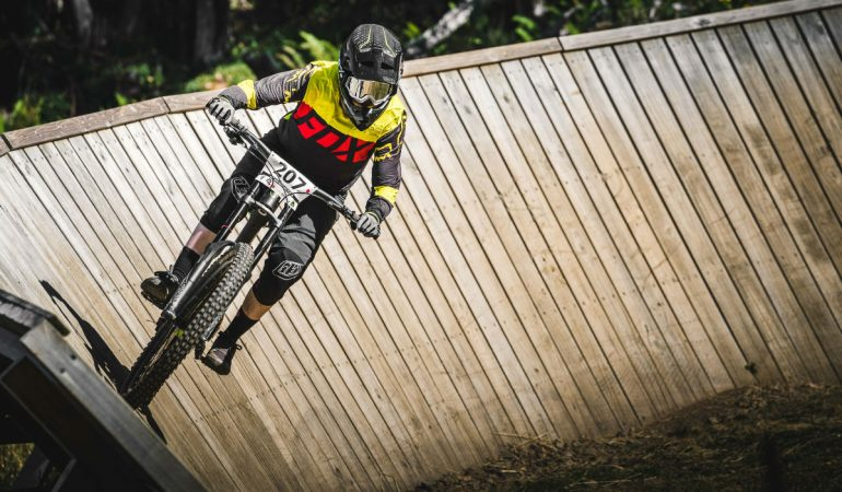 fully equipped mountain biker